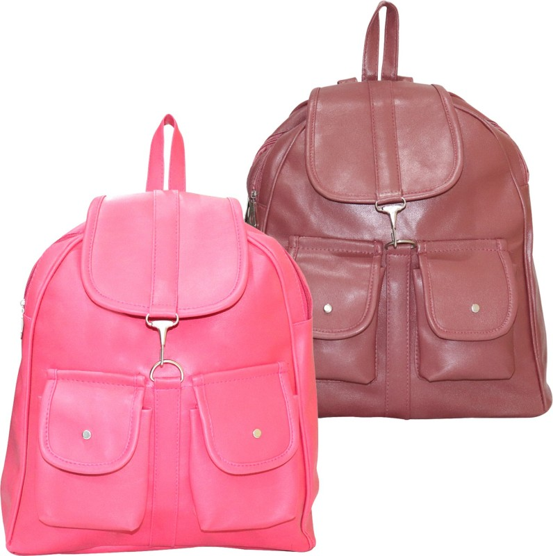 Stropcarry PU Leather Pink Backpack School Bag Student 15 L Backpack(Brown, Pink)