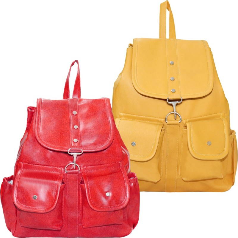 Stropcarry PU Leather Pink Backpack School Bag Student 15 L Backpack(Yellow, Red)