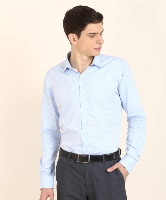Park Avenue Men Self Design Formal Light Blue Shirt