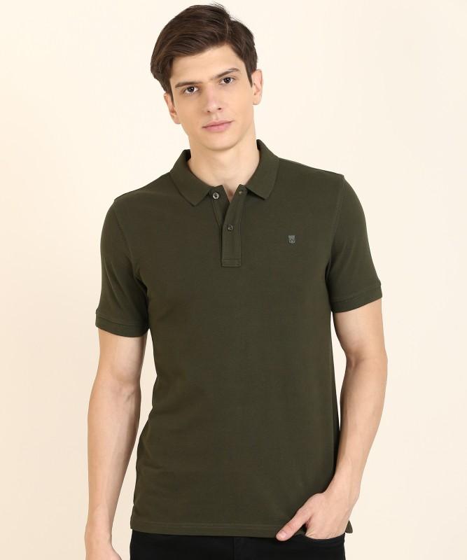 Wrangler Solid Men Polo Neck Dark Green T-Shirt