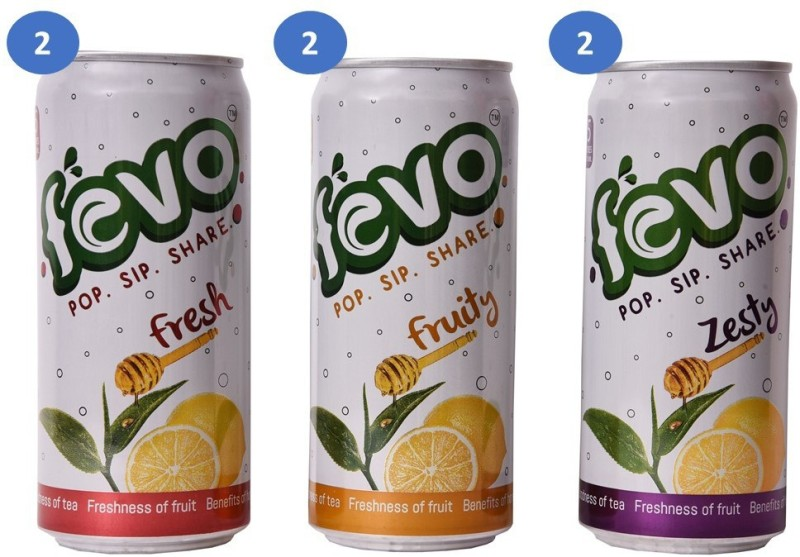 FEVO Combo Fruity, Fresh and Zesty - Tea and Fruit Based Drink 300 ml Can(6 x 300 ml)