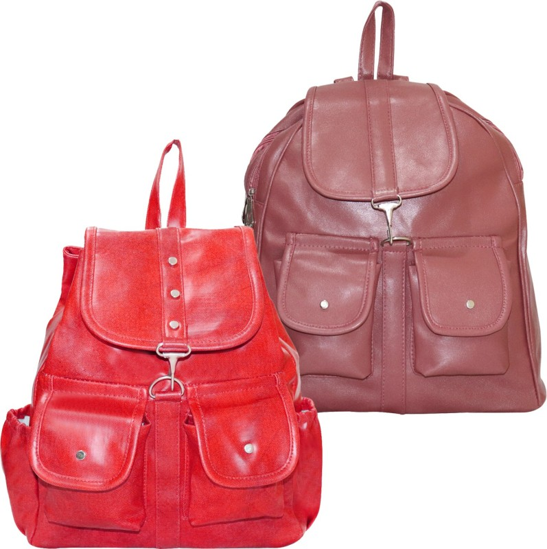 Stropcarry PU Leather Pink Backpack School Bag Student 15 L Backpack(Brown, Red)