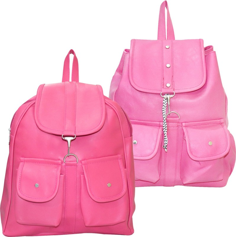 Stropcarry PU Leather Pink Backpack School Bag Student 15 L Backpack(Pink)