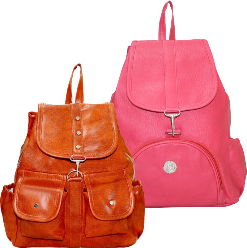 Stropcarry PU Leather Pink Backpack School Bag Student 15 L Backpack(Pink, Brown)