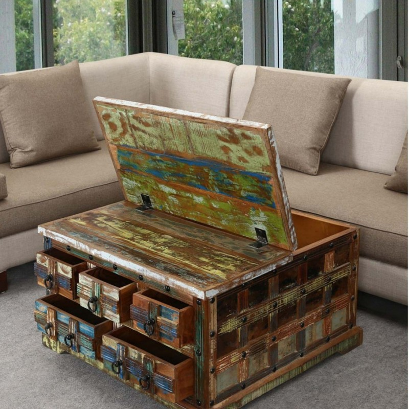 APRODZ Solid Wood Coffee Table(Finish Color - Multicolor)