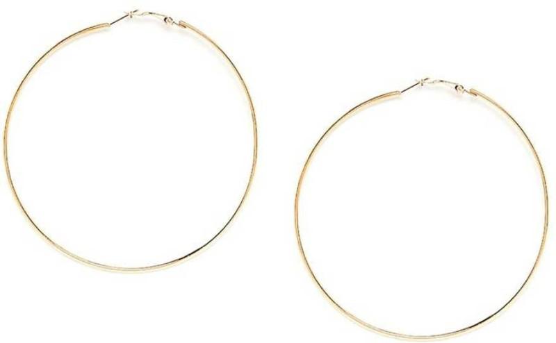 RaHee Latest Trendy Golden Plated Hoop Brass Hoop Earring