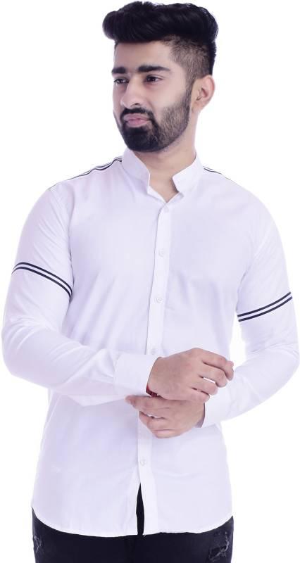 FOBIA Men Striped Casual White Shirt