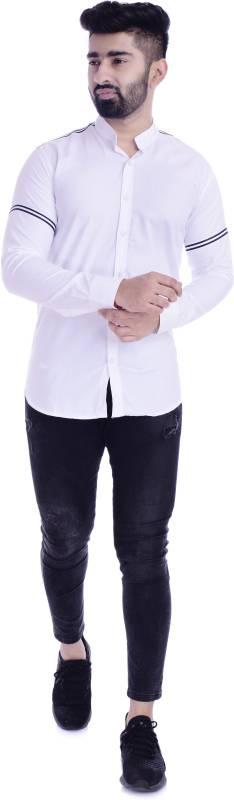 XTL Men Striped Casual White Shirt