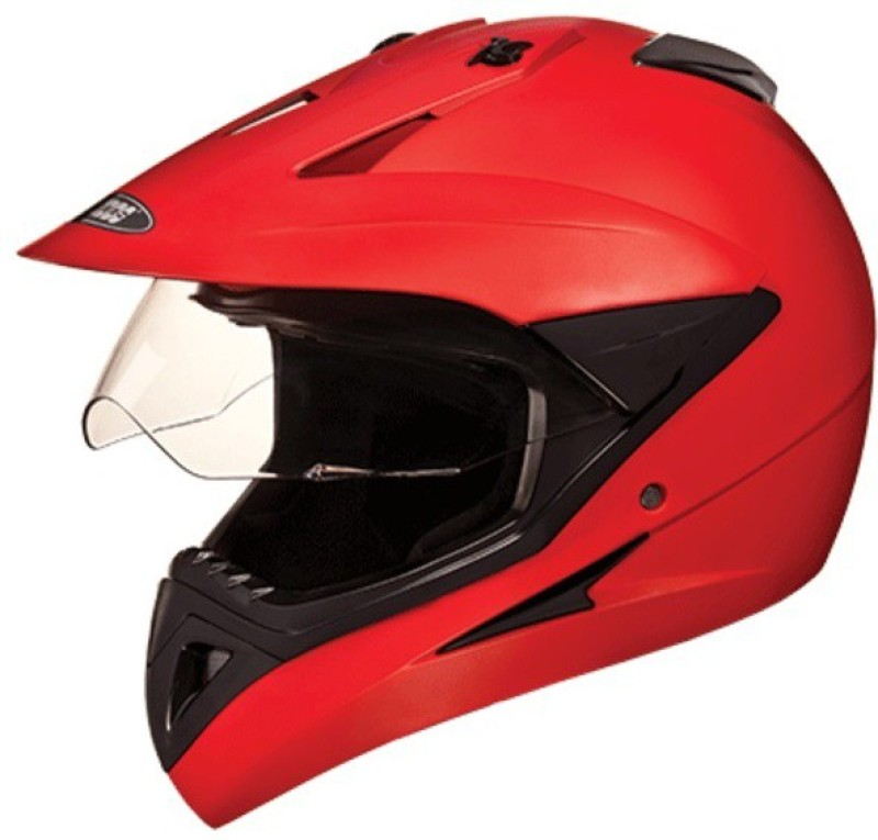 Studds Motocross Motorbike Helmet(Matt Red)