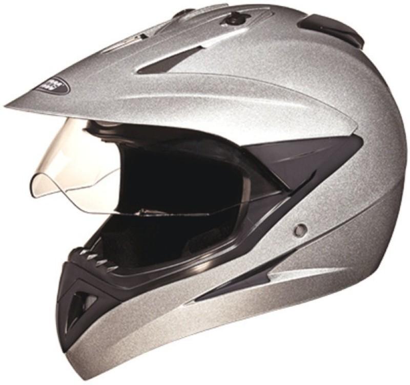 Studds Motocross Motorbike Helmet(Silver Grey)