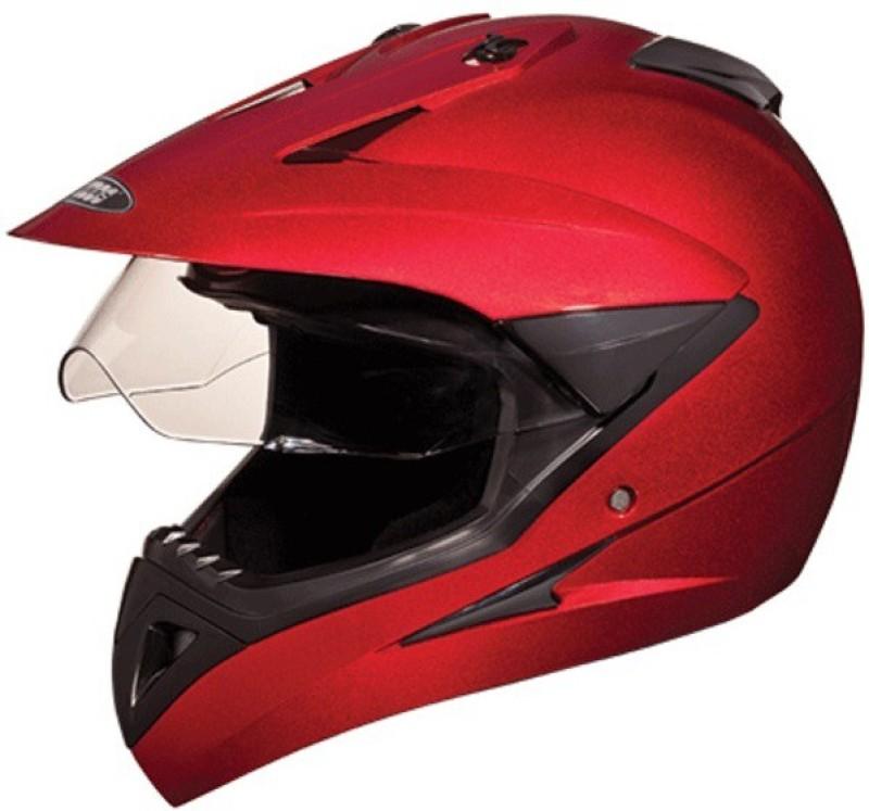 Studds Motocross Motorbike Helmet(cherry red)