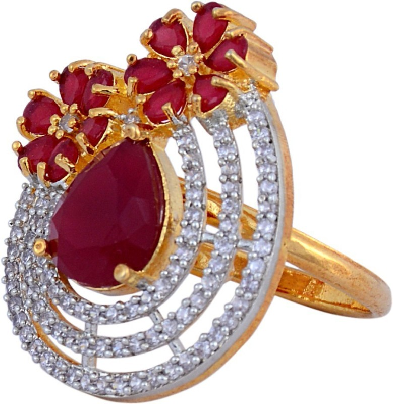 Darsha collections DCR016 Alloy Sapphire, Diamond Gold Plated Ring