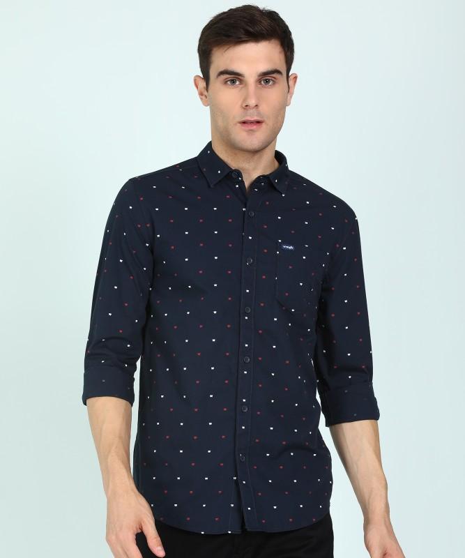Wrangler Men Printed Casual Dark Blue Shirt