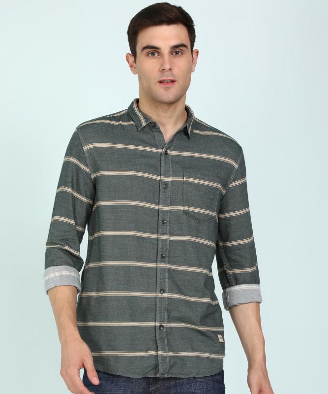 Wrangler Men Striped Casual Beige, Green Shirt