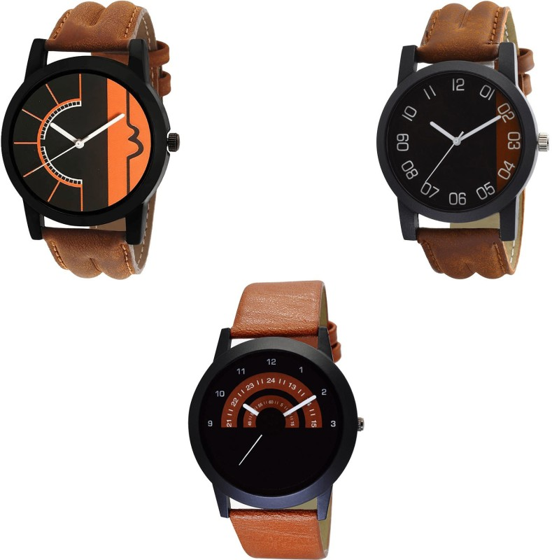 NIKOLA Modern Branded Brown And Color 3 Watch Combo (B17-B36-B46) For Boys And Men New Unique Combo Analog Watch  - For Men