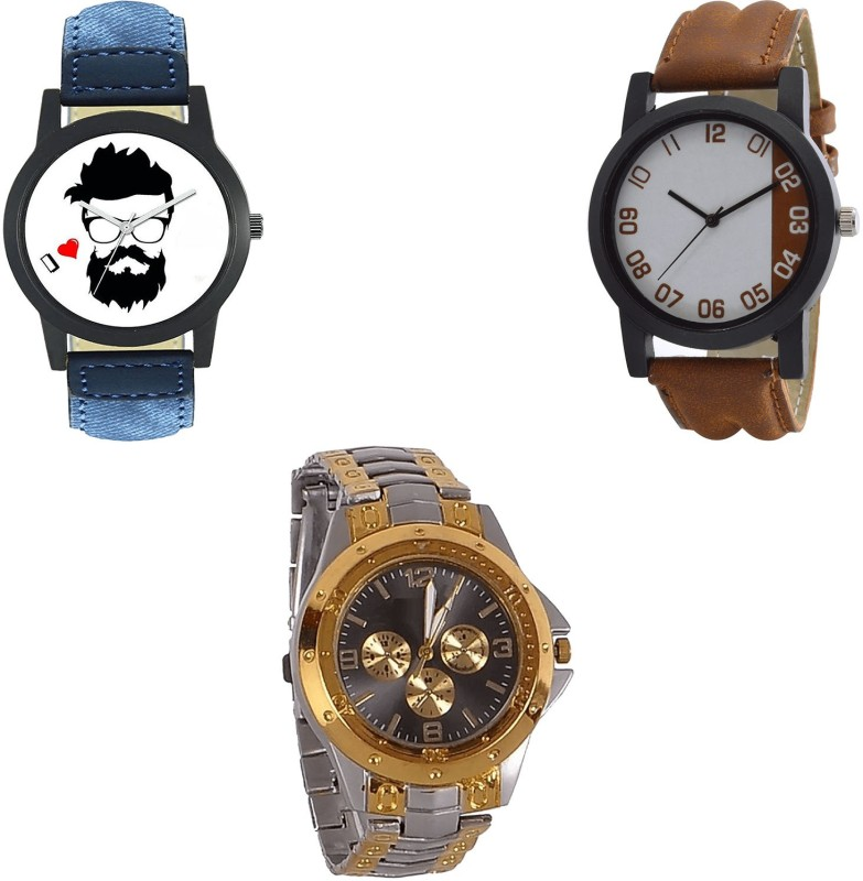 NIKOLA Latest Luxury beard style Blue And Brown And Silver Color 3 Watch Combo (B12-B39-B76) For Boys And Men New Unique Combo Analog Watch  - For Men