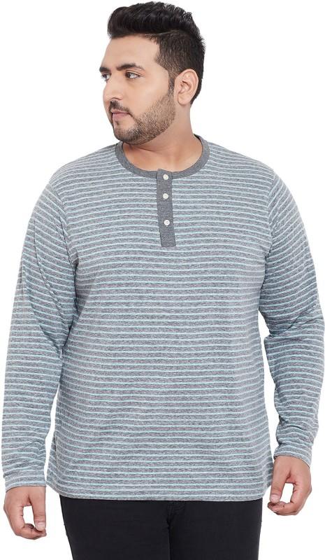 bigbanana Striped Men Henley Neck Grey T-Shirt