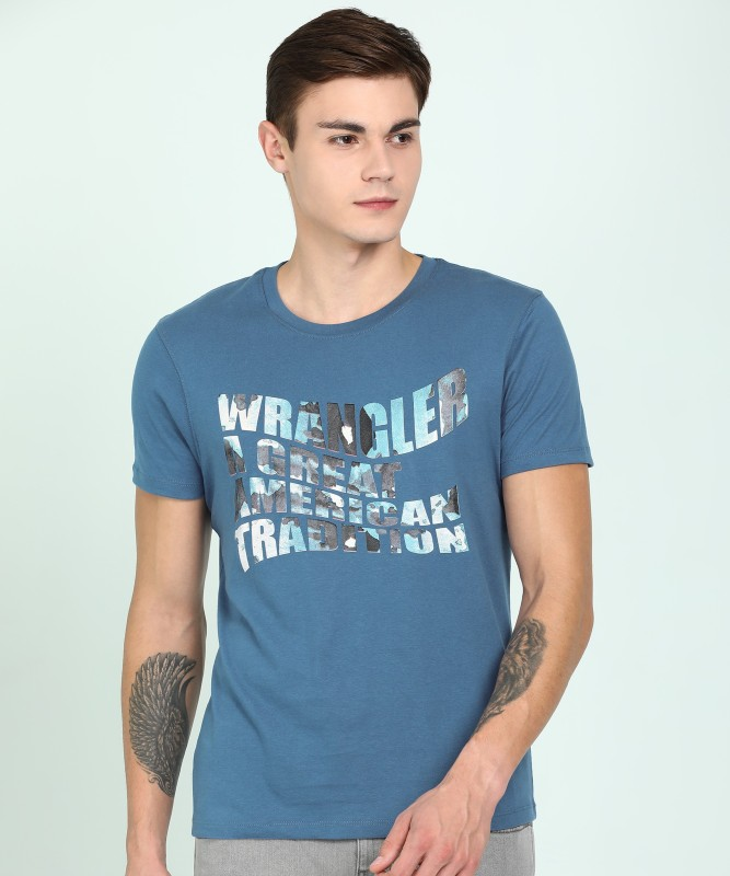 Wrangler Printed Men Round Neck Blue T-Shirt