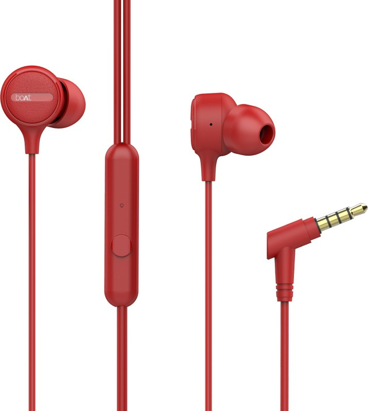 boAt Bassheads 103 Red Wired Headset(Red, Wired in the ear)