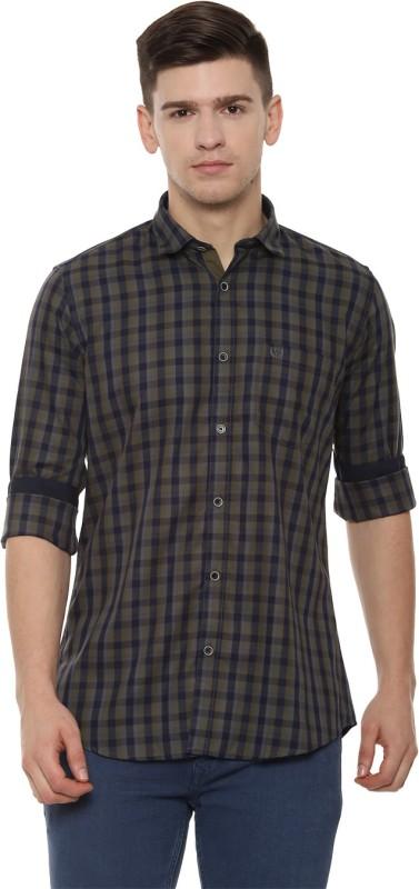 Van Heusen Men Checkered Casual Dark Blue Shirt