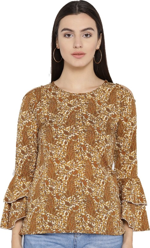 Cottinfab Casual Flute Sleeve Printed Women Gold Top
