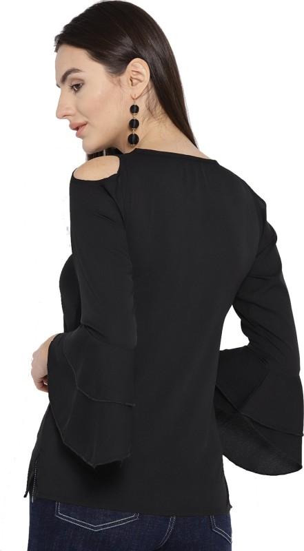 Cottinfab Casual Flute Sleeve Printed Women Black Top