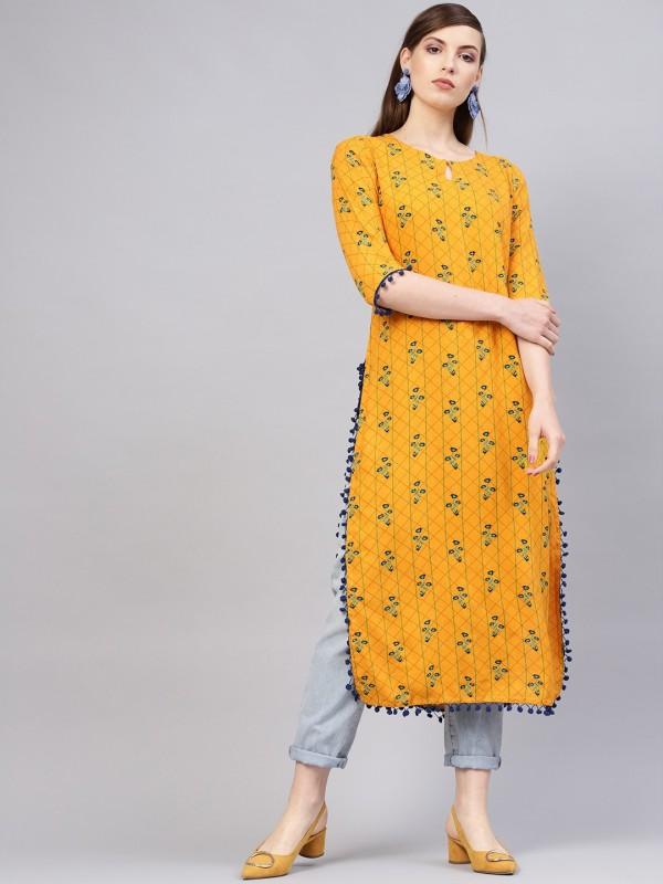 Libas Women Printed Straight Kurta(Yellow)