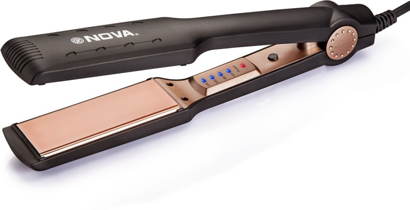 Nova Temperature Control Professional NanoTitanium Coated Wider Plates NHS 901 Hair Straightener(Black, Gold)