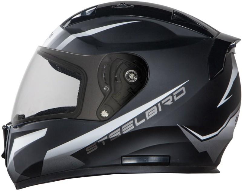 Steelbird SA-1 Whif Matt Black White in Plain Visor Motorbike Helmet(Matt Black White in Plain Visor)