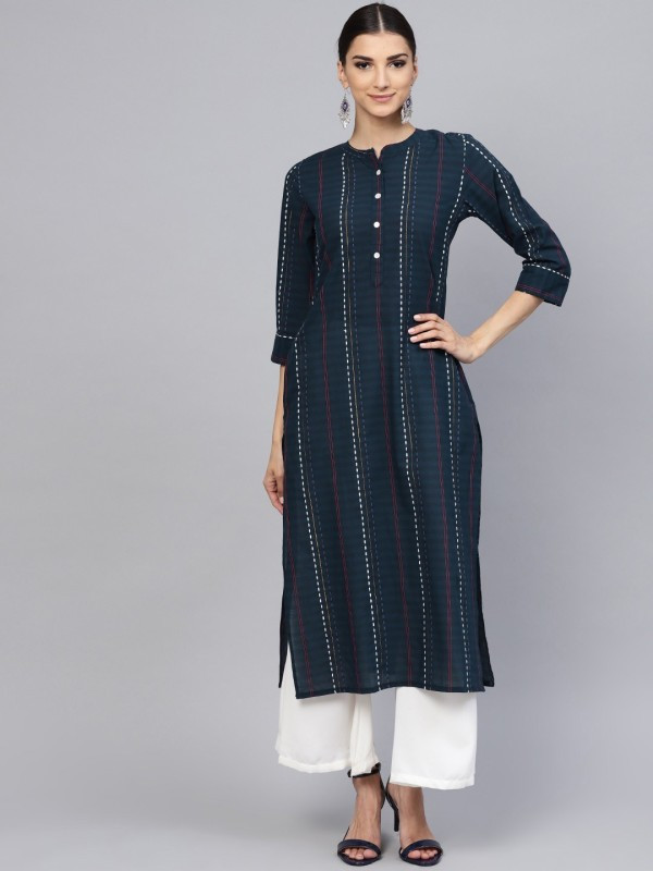 Libas Women Striped Straight Kurta(Blue)