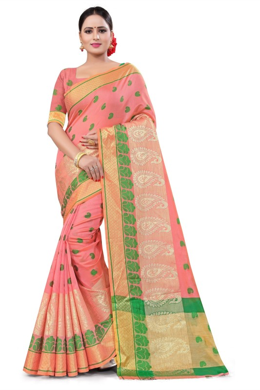 ecolors fab Woven Banarasi Tussar Silk, Cotton Blend, Poly Silk Saree(Pink)