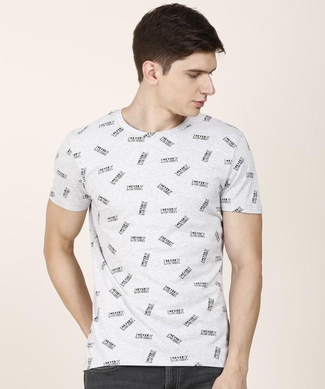 Wrangler Printed Men Round Neck Grey T-Shirt