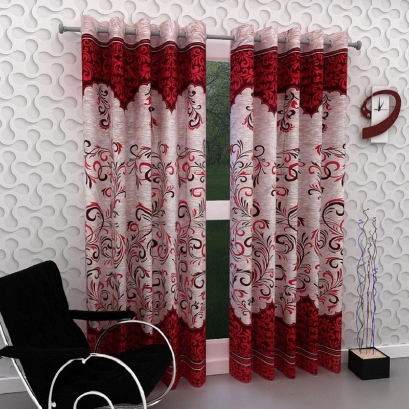 Panipat Textile Hub 214 cm (7 ft) Polyester Window & Door Curtain (Pack Of 2)(Printed, Red)