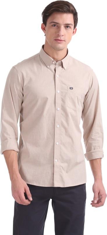 Arrow Men Solid Casual Beige Shirt
