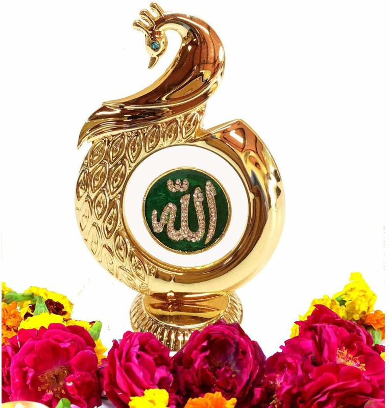 INTERNATIONAL GIFT Gold Plated Peacock Shape Allah God Idol Car Dashboard, Home Temple (12 Cm, Gold) Decorative Showpiece - 12 cm(Brass, Gold)
