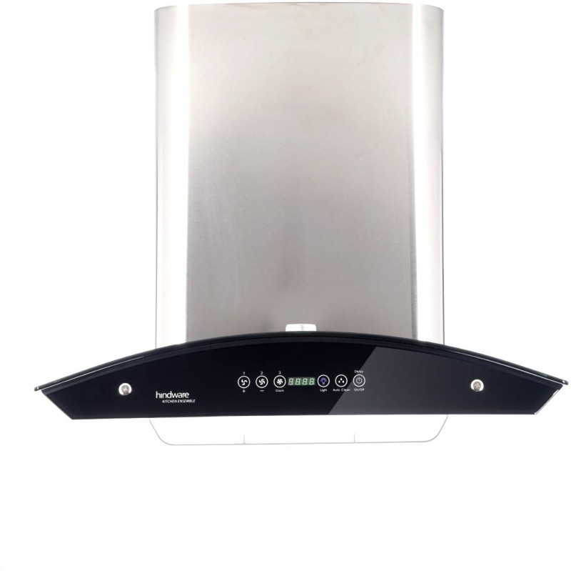 Hindware 60cm 1200 m3 hr Auto Clean Chimney JKL20149 Auto Clean Wall Mounted Chimney(Grey 1200 CMH)