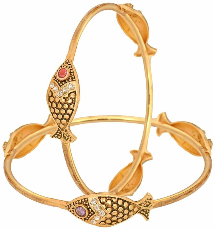 Darshini Designs Alloy Gold-plated Bangle(Pack of 2)