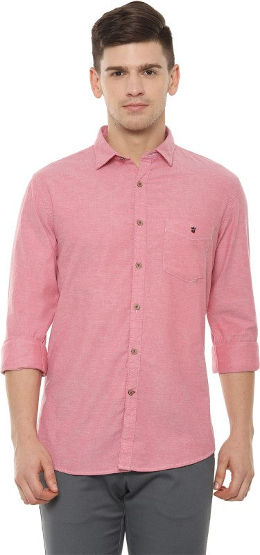 Louis Philippe Men Solid Casual Pink Shirt