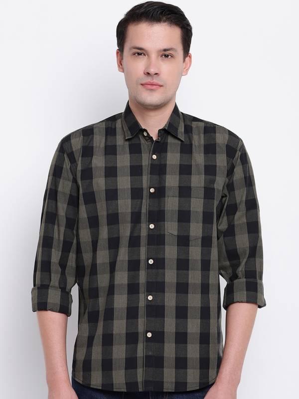 GHPC Men Checkered Casual Green Shirt