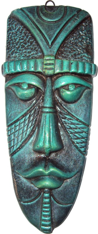Hand Artz Terracotta Handmade Wall Hanging Egyptian Mask Decorative Showpiece - 15 cm(Terracotta, Green)
