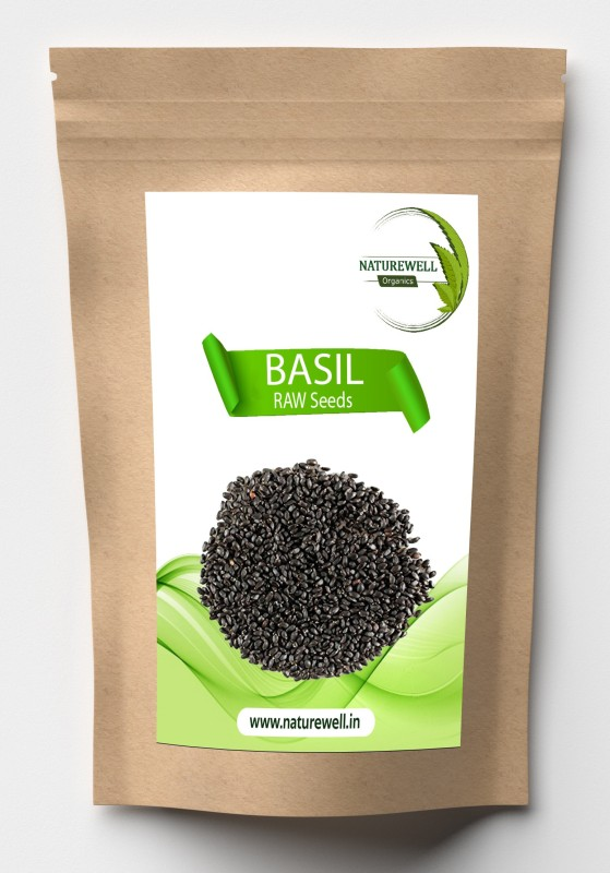 Naturewell Basil Seeds / Tukmariya / Sabja / Bapji Seed for Protein   Iron   Folic acid and Dietary Fibre  Calcium   Anti Oxidents for Weight Loss (Raw Seed ) Seed(100 per packet)
