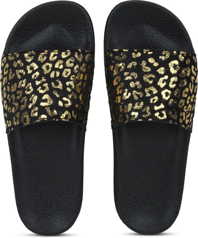 Shoe Island Feminae Stylish Fancy Black Cheetah Print Party Women Indoor Outdoor Flat Slippers Sliders Flip Flops Girls Slides Slides
