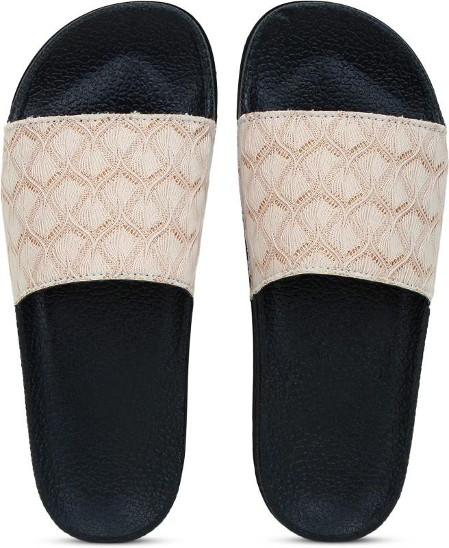 Shoe Island Feminae Stylish Fancy Beige Glitter Lace Women Indoor Outdoor Flat Slippers Sliders Flip Flops Girls Slides Slides