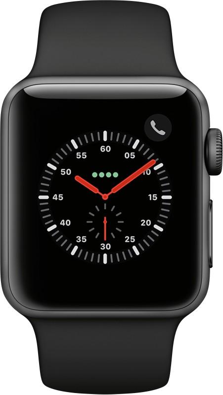 Apple Watch Series 3 GPS + Cellular 38 mm Aluminium Case(Black Strap Regular)