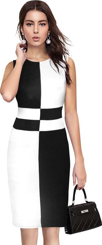 ILLI LONDON Women Bodycon White, Black Dress