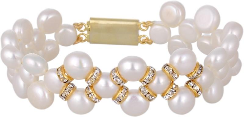 Hyderabad Jewels Mother of Pearl Pearl Rhodium Bracelet