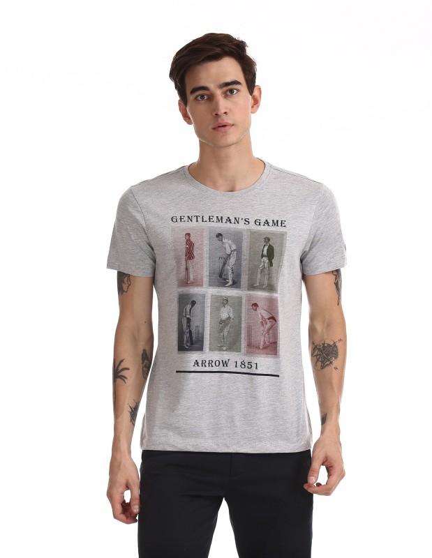 Arrow Printed Men Round Neck Grey T-Shirt