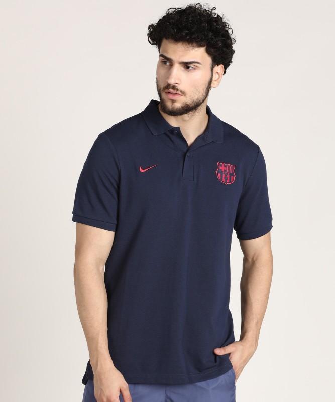 Nike Solid Men Polo Neck Dark Blue T-Shirt