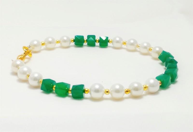 AB online Stone, Metal, Shell Onyx Bracelet