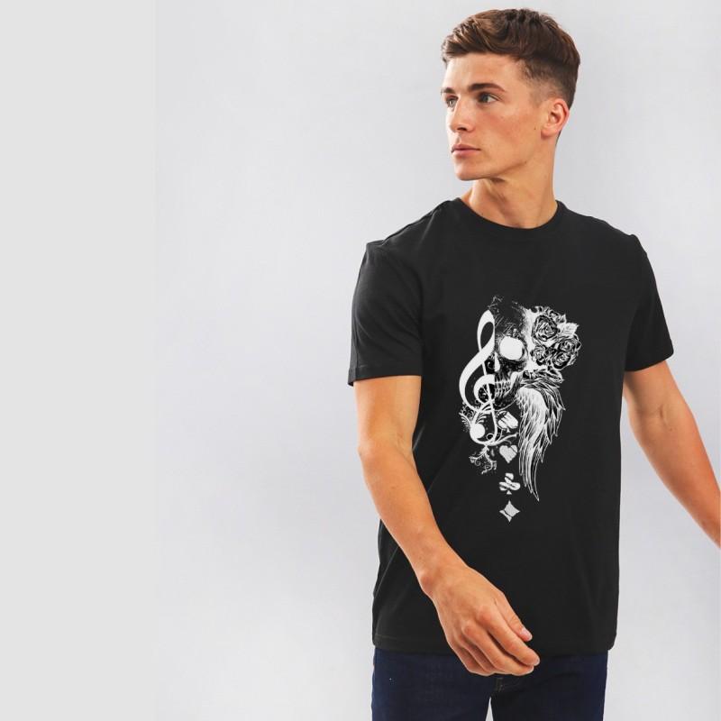 Nerroo Printed Men & Women Round Neck Black T-Shirt